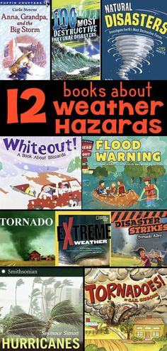 12 books to teach elementary students about Weather Hazards, such as hurricanes, floods, and tornadoes. Use these books to introduce a weather unit or have students research different weather hazards.  These books match third-grade NGSS science standards. #thirdgradescience #weatherhazards