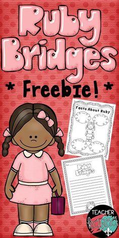 Ruby Bridges FREE Lessons.  Perfect for Black History Month.  FREEBIE!  http://TeacherKarma.com
