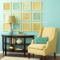 Create your own wall art by cutting out 12 squares of wallpaper in four different patterns and framing them. Hang them in a rectangle shape on the wall for easy, eye-catching art.