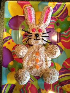 Make any cheese ball then shape like a bunny...  I made this bunny for my family tomorrow.  Will serve with some carat sticks, wheat thins and club mini crackers. Happy Easter!