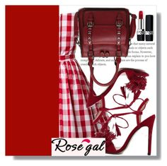"""Rosegal 43"" by mini-kitty ❤ liked on Polyvore featuring Christian Dior, vintage, red and rosegal"