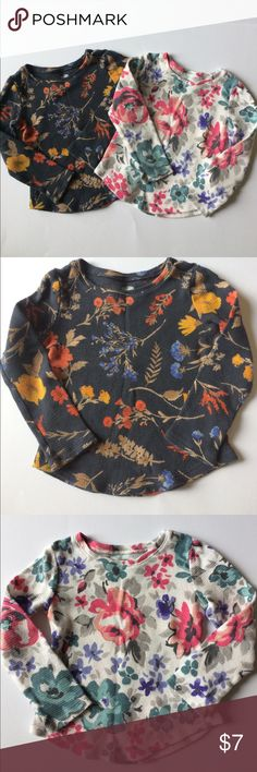Two 3T Old Navy 100% cotton long sleeve shirts 1) dark grey and autumn flower print.  2) white and colorful flower print. Old Navy long sleeve shirts. Great condition. 3T in size Old Navy Shirts & Tops Tees - Long Sleeve