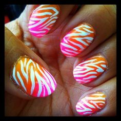 Summer Zebra Nails