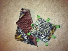 Blankie Crinkle Infant Toy Combo Set Mossy Oak Camo Baby Boy Camoflauge. $10.00, via Etsy.
