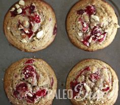 Cranberry Orange Swirl Muffins with Creamy Citrus Glaze #glutenfree #grainfree #paleo