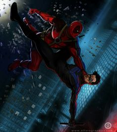 I want to bet on Nightwing since he WAS trained by the Goddamn Batman, but Deadpool is.<always go with deadpool even if he's going to lose Marvel Dc, Marvel Comics, Comic Books Art, Comic Art, Crossover, Avengers, Lady Deadpool, Nightwing And Starfire, Spiderman