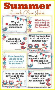 Printable Summer Lunch Box Notes Using Summer Jokes for Kids - Coupons Are Great kids lunch box ideas Summer Jokes For Kids, Thanksgiving Jokes For Kids, Kids Lunch For School, Funny Jokes For Kids, Kid Jokes, School Lunches, School Jokes, Toddler Jokes, Baby Jokes