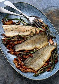Trout - Pan-Seared Rainbow Trout with Mushrooms