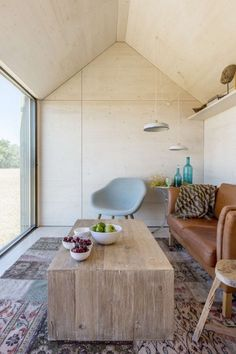 This is a 290 sq. ft. modern tiny cabin called the APH80 in Madrid, Spain.