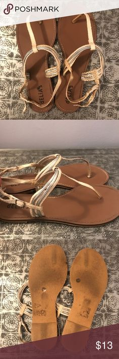 6f3273170535c6 White and silver thong sandals White cream silver thong sandals. Worn on  straps