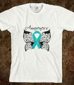 Tattoo Butterfly - Ovarian Cancer Shirts by hopedreamsdesigns.com #ovariancancer #ovariancancerawareness #ovariancancershirts