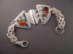 John Wise bracelet, sterling, gold, tiffany stone, tourmaline, black onyx
