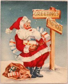 #1313 40s Velvet Dressed Santa Claus- Vintage Christmas Greeting Card