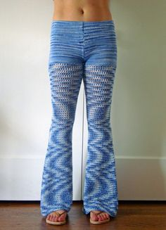 Jean Genie Cotton Crochet Bell Bottom Pants / by onceovertwice, $89.00