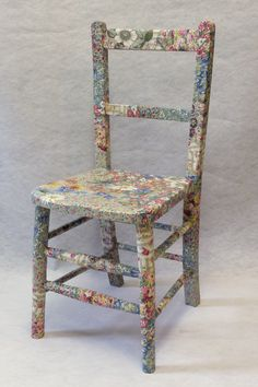 ARABELLA child's chair   Fabric decoupage furniture, upcycled, recycled furniture, homewares UK