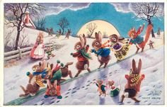 Medici Postcard Pk 255 The Slide AS Racey Helps Dressed Rabbits Play in Snow | eBay