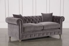 Get a classic design in the size and cover of your choice. Our Mansfield collection is inspired by the timeless Chesterfield style, which is characterized by a tight shelter-height back, graceful roll arms and deep, distinctive button tufting. Our interpr Fabric Sofa, Shabby Chic Furniture, Luxury Furniture, Decor, Velvet Sofa, Luxury Chair Covers, Furniture, Sofa, White Slipcovers