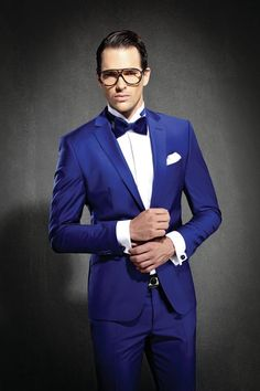 A bright blue formal look.
