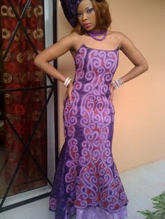 Mauve brocade maxi dress wih embroidery and by NewAfricanDesigns