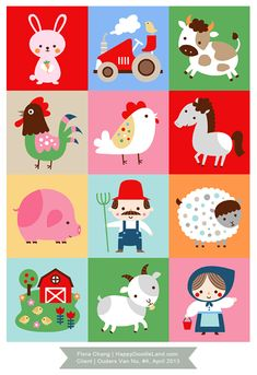Farm themed memory game illustration for Ouders Van Nu magazine (issue #4, 2013) by Flora Chang