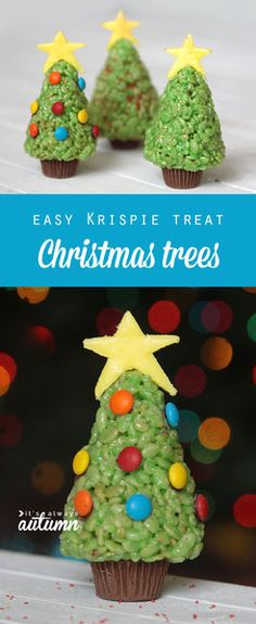 Easy rice crispy trees. These are perfect to make with a group of kids. We're having the neighbour children over for an ornament making party; I'm adding this to the list. Fun and edible.