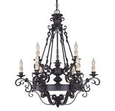 $1067.40Bulb TypeIncandescent or Fluorescent  CollectionBourges  ConfigurationChandelier  Energy StarNo  Height38  Light DirectionUp Lighting  Number of Bulbs9  Number of Tiers2  Suggested Room FitDining Room  ThemeWrought Iron  Tiers2  UL ListedDry Location  Watts Per Bulb60  Width33.25