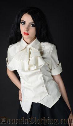 Ivory Cotton Panel Cravat Blouse - $48