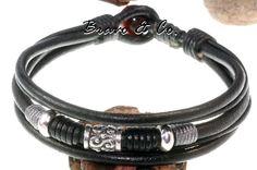 Sterling Silver, Leather & Red Tiger Eye New Surf Wristband Men Bracelet.