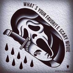 Scream Ghostface horror tattoo