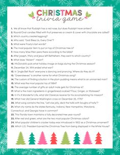 FREE Christmas Trivia Game - just downloagamesd, print and use for your upcoming Christmas parties and get togethers! Family Christmas Party Games, Xmas Games, Holiday Party Games, Christmas Holidays, Christmas Crafts, Christmas Parties, Family Games, Christmas Ideas, Christmas Carol