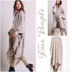 """Host PickStunning Hendrix Tassle fringe Kimono This gorgeous kaftan- kimono by Free People features an all- over metallic print in beige and gold, Tassle fringe at hem, long kaftan sleeves..approx: 39"""" shortest-51"""" long...material: linen- cotton- poly- rayon- metallic.... Free People Jackets & Coats Capes"""