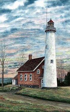 Steven W Schultz: Tawas Point Light Painting Watercolor Architecture, Watercolor Landscape, Landscape Art, Landscape Paintings, Watercolor Art, Lighthouse Painting, Lighthouse Pictures, Point Light, Beacon Of Light