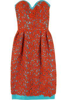 Oscar de la renta, coral and blue dress
