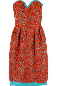 Oscar de la Renta, coral and blue dress