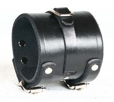 leather wristbands | Buckling Leather Wristband, Black Leather Punk Cuff