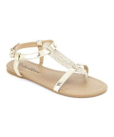 Love this Light Gold Glitter Strap Sandal by Chatties on #zulily! #zulilyfinds