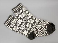 socks wool women white grey folklore star eco by helgihandicraft, $60.00