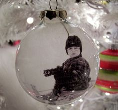 Glass Ball Photo Ornaments. Put photos of loved ones inside. Great keepsakes! Must do this for the kids