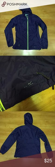 Lightweight rain jacket In excellent used condition. Eddie Bauer emblem on bottom right of jacket worn off, as you can see in the picture. Color is an eggplant purple with neon green zipper. Eddie Bauer Jackets & Coats Utility Jackets