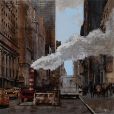 "Patrick Pietropoli, New York Street IV, 2014, Oil on Linen, 20"" x 20"" #art #axelle #painting #nyc #streetscape #urban"