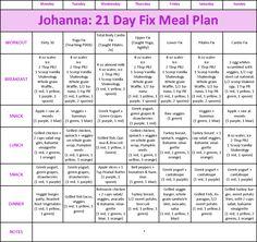 Johanna's 21 Day Fix Meal Plan