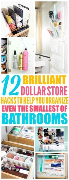 These Dollar Store Organization Hacks are THE BEST! I'm so glad I found these AMAZING tips! Now I have some smart ways to organize my small bathroom! Definitely pinning!