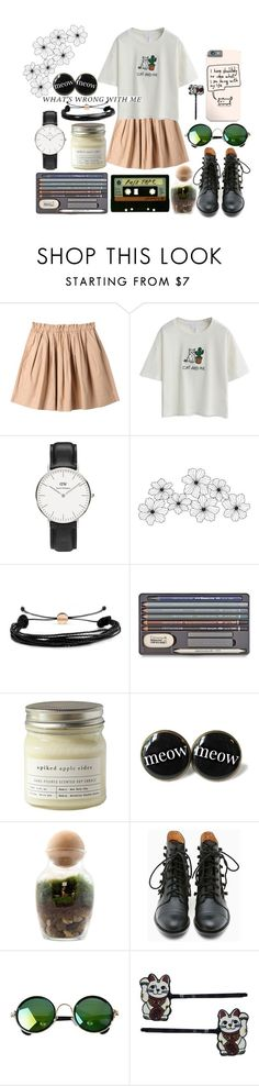 """What's wrong with me?"" by luna2015 ❤ liked on Polyvore featuring Uniqlo, Daniel Wellington, Domo Beads, Brooklyn Candle Studio, Twig Terrariums, Michele, Matiko and Hollywood Mirror"