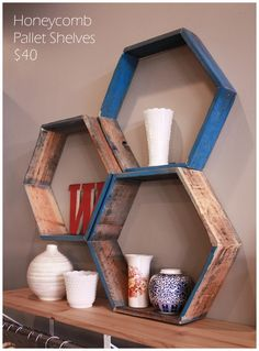 Accidentally deleted this pin, but found it again! Awesome weathered wood honeycomb shelves. Love that it's partially painted.