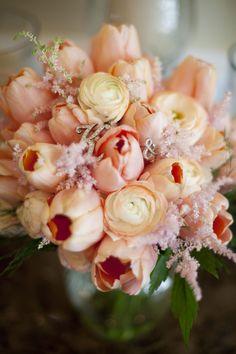Bridesmaids bouquet for a monotone look? Peach tulip and ranunculus bouquet! Ranunculus Bouquet, Tulip Bouquet, Ranunculus Wedding, Peach Bouquet, Peach Flowers, Tulip Wedding, Wedding Flowers, Here Comes The Bride, Wedding Bouquets