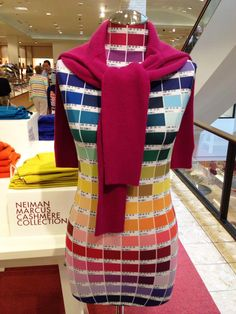 Neiman Marcus found a clever way to display the many colors of cashmere yarn for the sweater they tied at the neck.