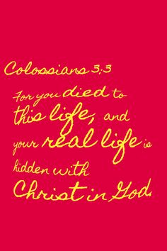 For you died to this life, and your real life is hidden with Christ in God.