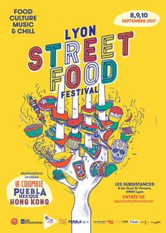 Food Graphic Design, Food Poster Design, Event Poster Design, Graphic Design Posters, Flyer Design, Typography Design, Chill, Streetfood Festival, Posters Conception Graphique