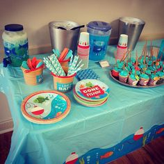 Boys First Birthday Party Ideas, First Birthday Decorations, Baby Boy 1st Birthday, First Birthday Parties, 5th Birthday, Birthday Highchair, 1st Birthdays, Baby Shower, Fish