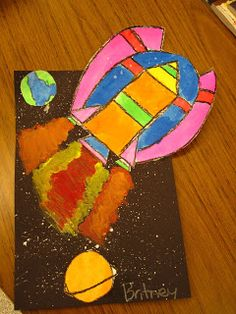 """space ships-I like how the spaceship is """"leaving"""" the paper!"""